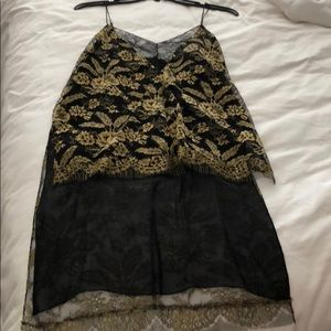 Adam Lippes black and gold lace top
